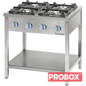 Kuchnia gastronomiczna gazowa wolnostojąca 4 palnikowa z półką 24 kW - G30 (propan-butan)