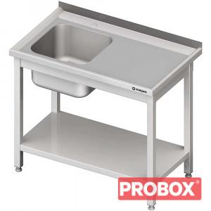 Stół ze zlewem 1-kom.(L),z półką 1300x600x850 mm skręcany