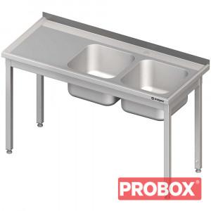 Stół ze zlewem 2-kom.(P),bez półki 1100x700x850 mm spawany