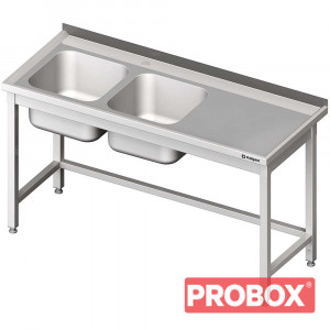 Stół ze zlewem 2-kom.(L),bez półki 1500x600x850 mm