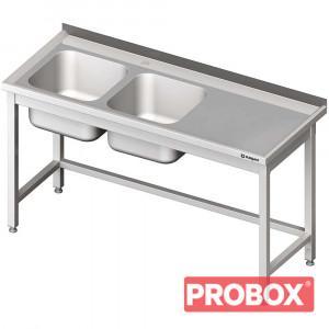 Stół ze zlewem 2-kom.(L),bez półki 1600x600x850 mm