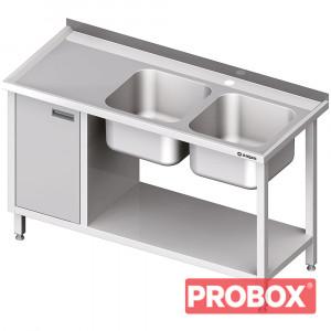 Stół ze zlew 2-kom.(P), z szafką i półką 1400x700x850 mm