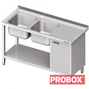 Stół ze zlew 2-kom.(L), z szafką i półką 1900x600x850 mm