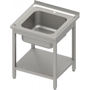 Stół ze zlewem 1-kom.z półką 600x600x850 mm skręcany, blat tłoczony