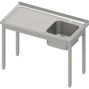 Stół ze zlewem 1-kom.(P),bez półki 1000x600x850 mm skręcany, blat tłoczony