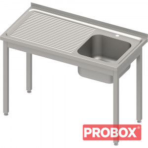 Stół ze zlewem 1-kom.(P),bez półki 800x700x850 mm skręcany, blat tłoczony