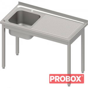 Stół ze zlewem 1-kom.(L),bez półki 800x700x850 mm spawany, blat tłoczony